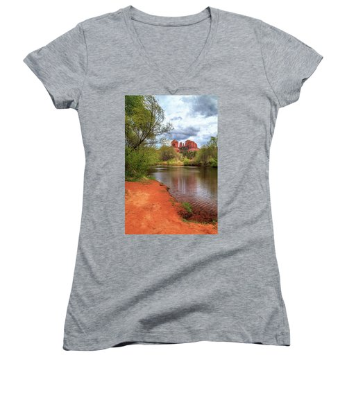 Women's V-Neck T-Shirt (Junior Cut) featuring the photograph Cathedral Rock From Oak Creek by James Eddy