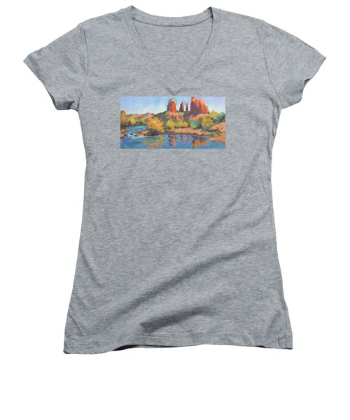 Moonrise Cathedral Rock Sedona Women's V-Neck
