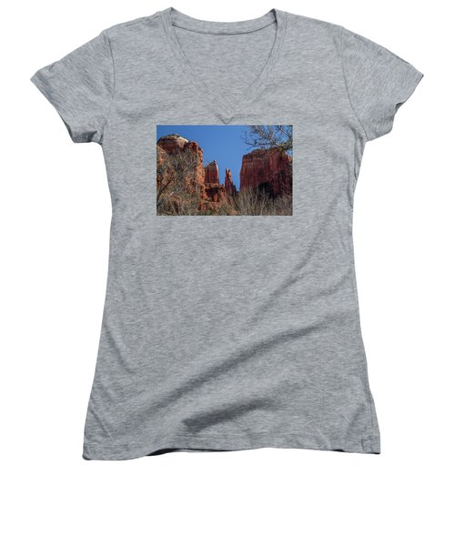 Women's V-Neck T-Shirt (Junior Cut) featuring the photograph Cathedral Rock View by Roger Mullenhour