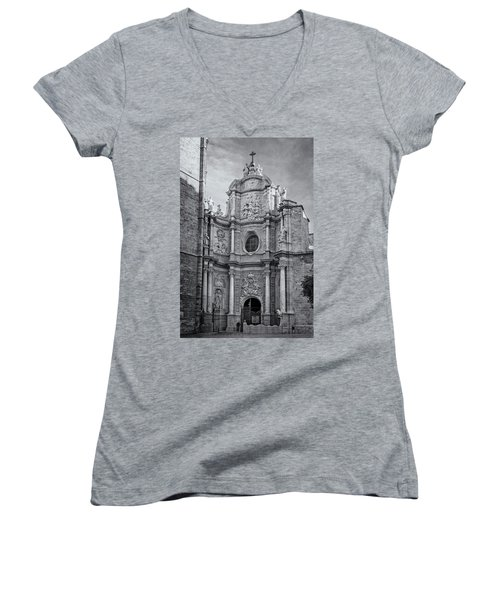 Women's V-Neck T-Shirt (Junior Cut) featuring the photograph Cathedral Valencia Spain by Joan Carroll