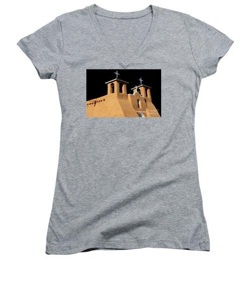 Women's V-Neck T-Shirt (Junior Cut) featuring the photograph St Francis De Assi Church  New Mexico by Bob Christopher