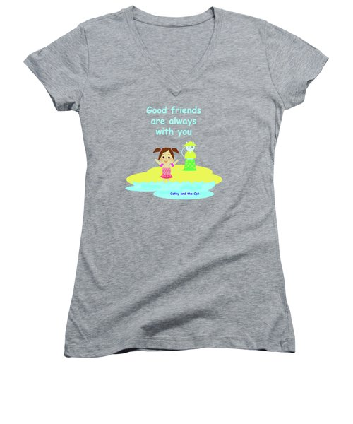 Cathy And The Cat Friends Are With You Women's V-Neck