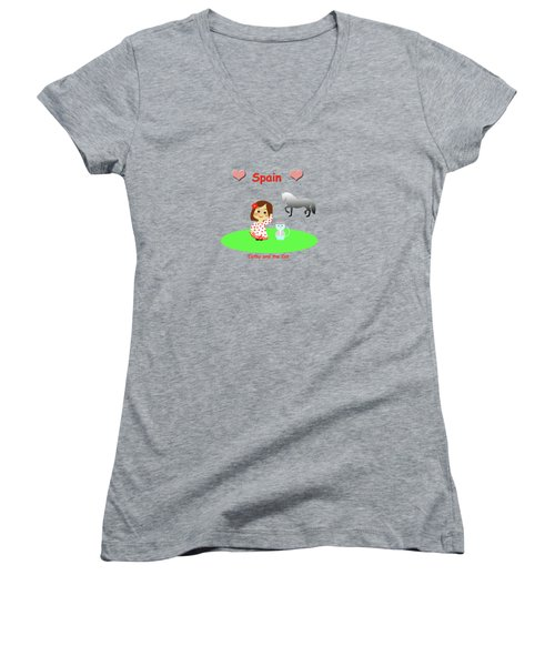Cathy And The Cat In Spain Women's V-Neck