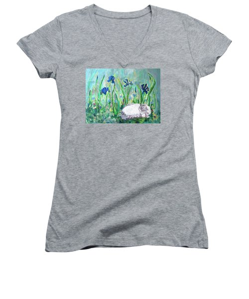 Catnap In The Garden Women's V-Neck T-Shirt
