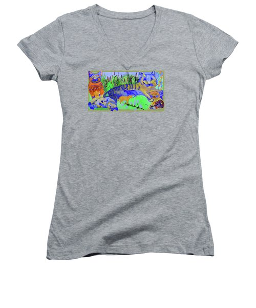 Cats And A Fiddle Women's V-Neck T-Shirt (Junior Cut) by Sandy McIntire