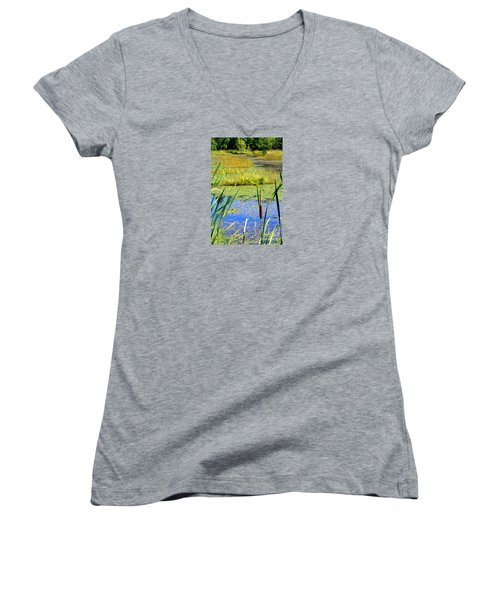 Women's V-Neck T-Shirt (Junior Cut) featuring the photograph Cattail by Chris Anderson