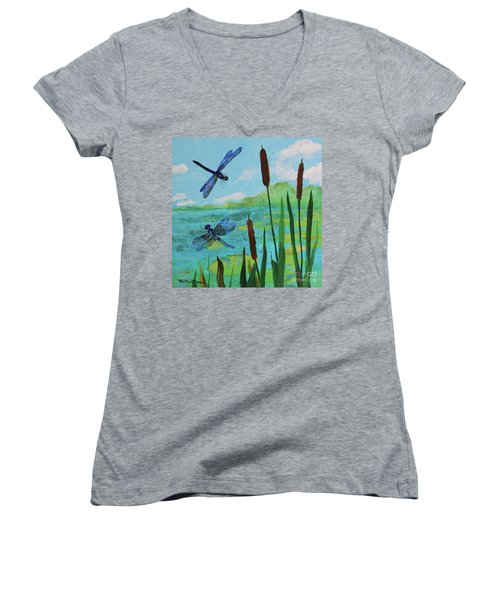 Cattails And Dragonflies Women's V-Neck