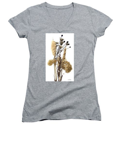 Women's V-Neck T-Shirt (Junior Cut) featuring the digital art Cattails And November Flowers II by Lise Winne