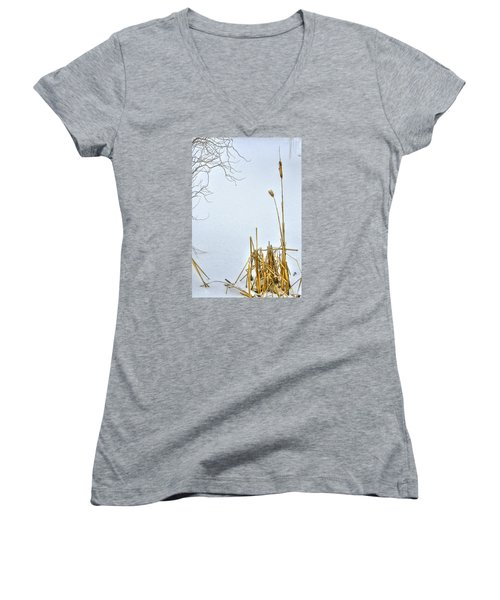 Cattails In Winter Women's V-Neck