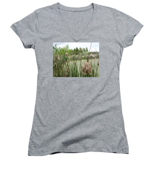 Women's V-Neck T-Shirt (Junior Cut) featuring the photograph Cattails by Mary Mikawoz