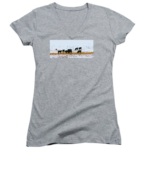 Cattle And Birds Women's V-Neck