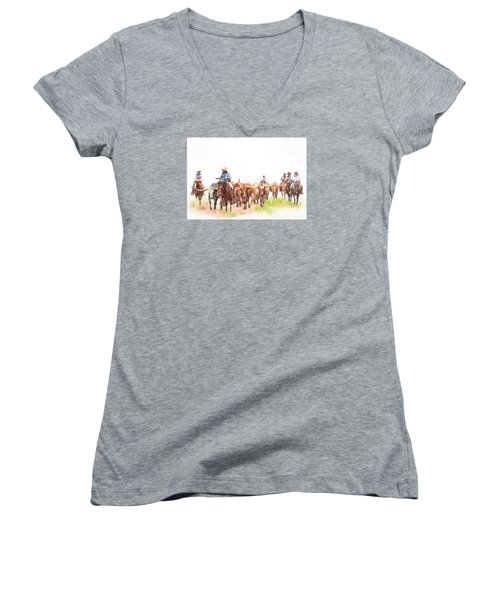 Cattle Drive Women's V-Neck T-Shirt (Junior Cut) by David and Carol Kelly
