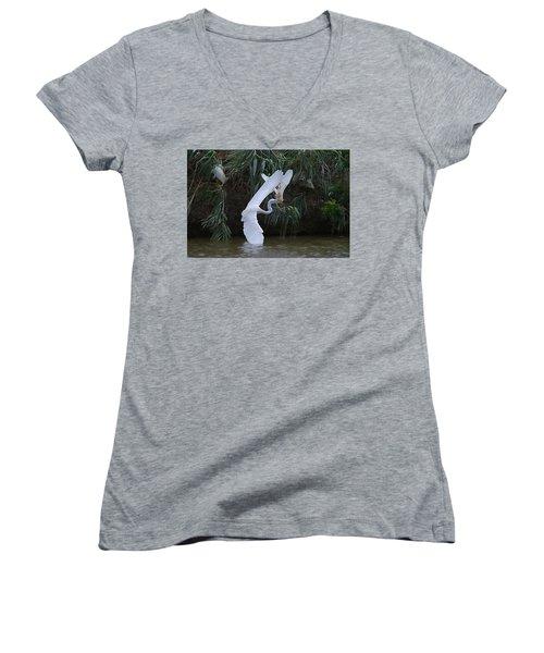 Cattle Egret Harassing An Adult Egret - Digitalart Women's V-Neck T-Shirt