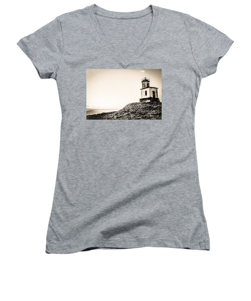 Cattle Point Lighthouse Women's V-Neck T-Shirt (Junior Cut) by William Wyckoff