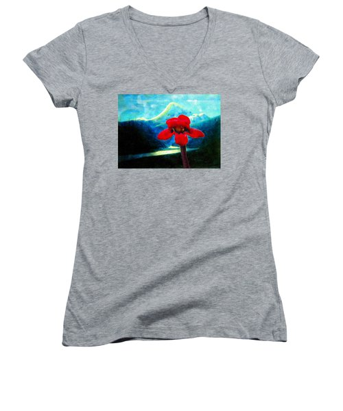 Women's V-Neck T-Shirt (Junior Cut) featuring the photograph Caucasus Love Flower I by Anastasia Savage Ealy