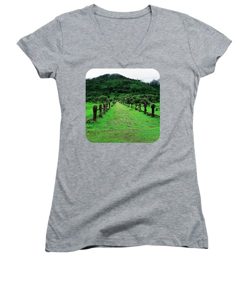 Causeway To Wat Phou Women's V-Neck T-Shirt (Junior Cut) by Ethna Gillespie