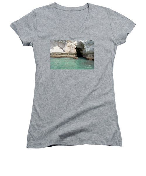 Women's V-Neck T-Shirt (Junior Cut) featuring the photograph Cave Entranve by Yurix Sardinelly