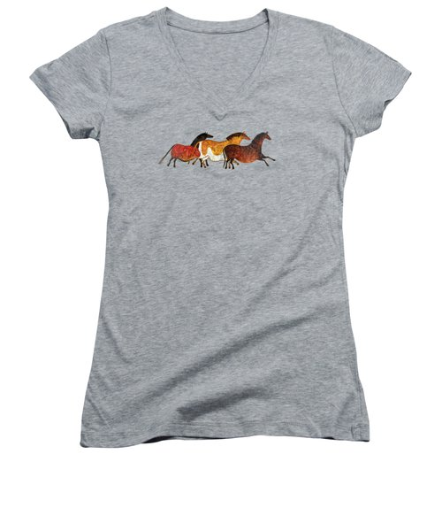 Cave Horses In Beige Women's V-Neck (Athletic Fit)