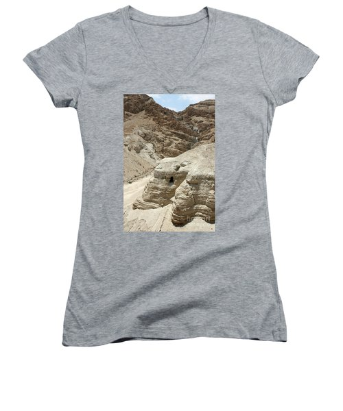Caves Of The Dead Sea Scrolls Women's V-Neck T-Shirt