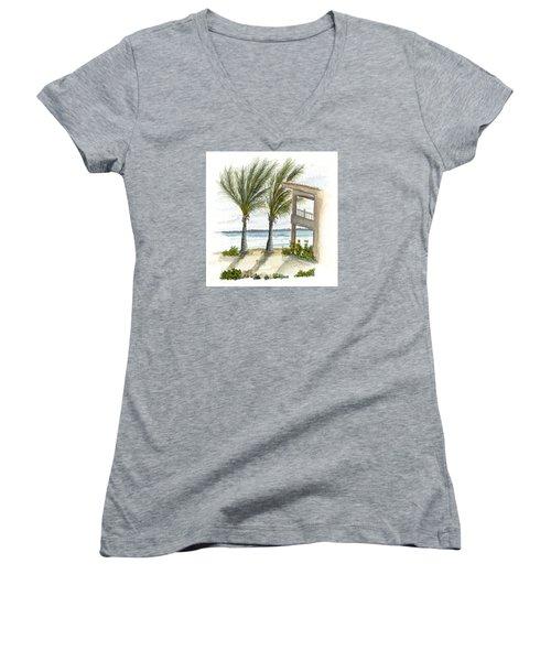 Women's V-Neck T-Shirt (Junior Cut) featuring the digital art Cayman Hotel by Darren Cannell