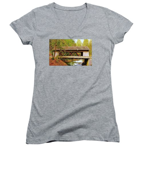 Cedar Creek Grist Mill Covered Bridge Women's V-Neck (Athletic Fit)