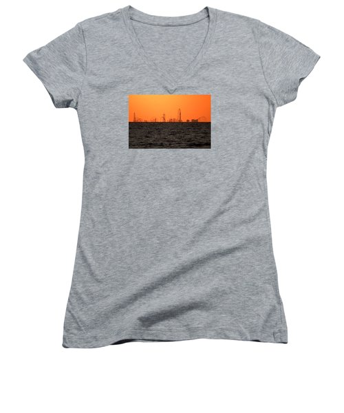 Cedar Point Skyline Women's V-Neck T-Shirt (Junior Cut) by Rob Blair