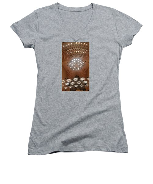 Women's V-Neck T-Shirt (Junior Cut) featuring the photograph Ceiling Of Syndey Opera House Symphony Hall by Bev Conover