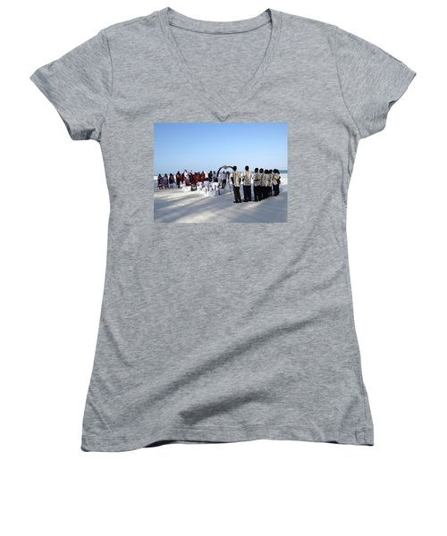 Celebrate Marriage In Kenya Women's V-Neck T-Shirt (Junior Cut) by Exploramum Exploramum
