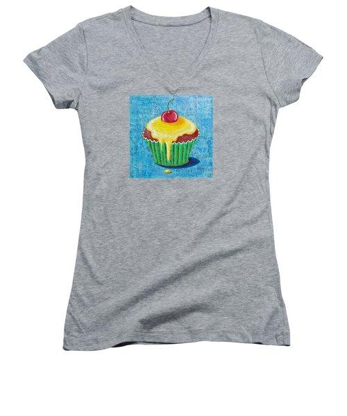 Women's V-Neck T-Shirt (Junior Cut) featuring the painting Celebration by Susan DeLain