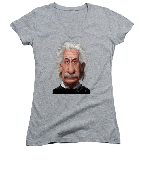 Celebrity Sunday - Albert Einstein Women's V-Neck