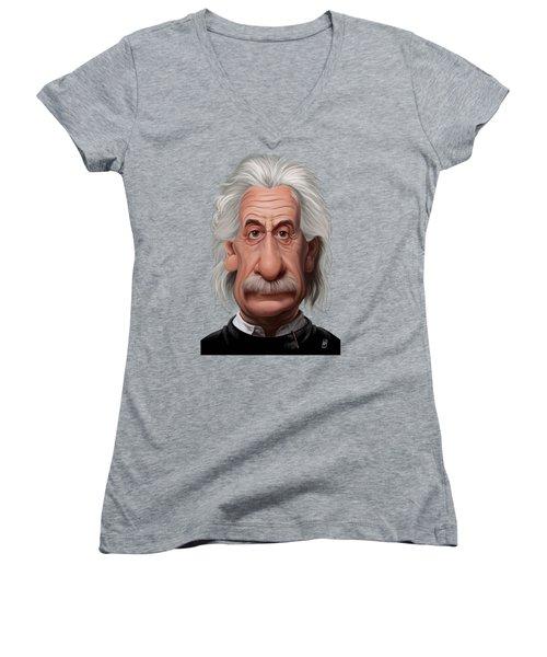 Celebrity Sunday - Albert Einstein Women's V-Neck (Athletic Fit)