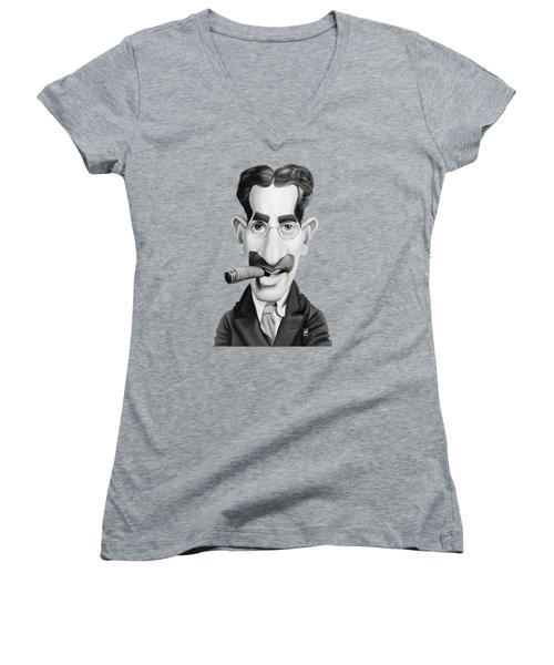 Celebrity Sunday - Groucho Marx Women's V-Neck (Athletic Fit)