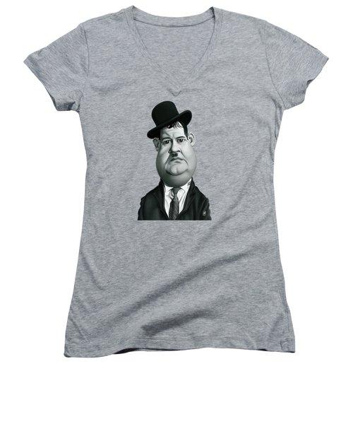 Celebrity Sunday - Oliver Hardy Women's V-Neck T-Shirt
