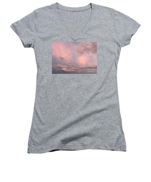 Women's V-Neck T-Shirt (Junior Cut) featuring the photograph Celestial Sky by Paula Guttilla