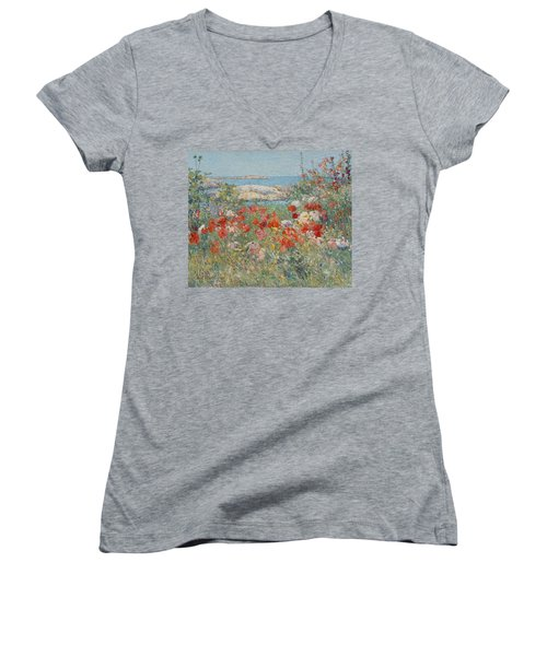 Celia Thaxter's Garden, Isles Of Shoals, Maine Women's V-Neck