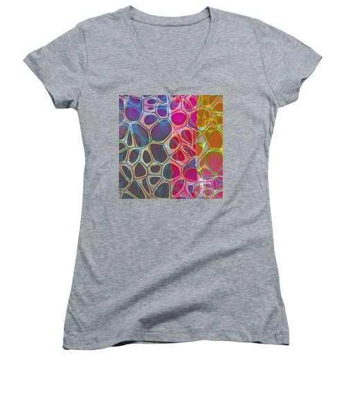 Cell Abstract 11 Women's V-Neck T-Shirt (Junior Cut) by Edward Fielding