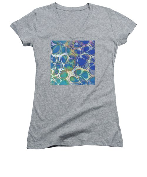 Cell Abstract 13 Women's V-Neck T-Shirt (Junior Cut) by Edward Fielding