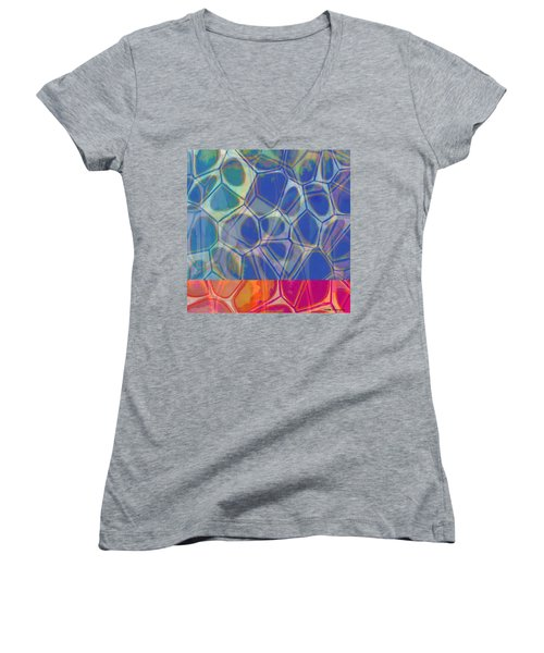 Cell Abstract One Women's V-Neck T-Shirt (Junior Cut) by Edward Fielding