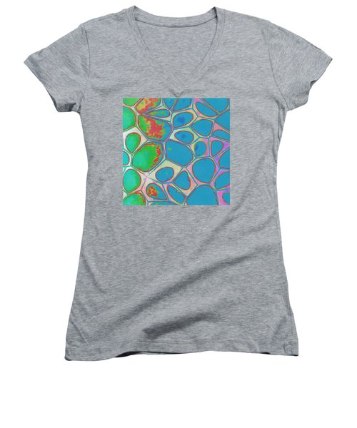 Cells Abstract Three Women's V-Neck T-Shirt (Junior Cut) by Edward Fielding