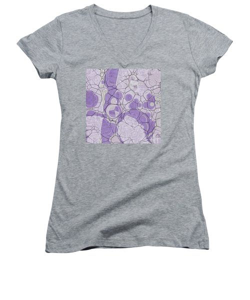 Women's V-Neck T-Shirt (Junior Cut) featuring the digital art Cellules - 03c2 by Variance Collections