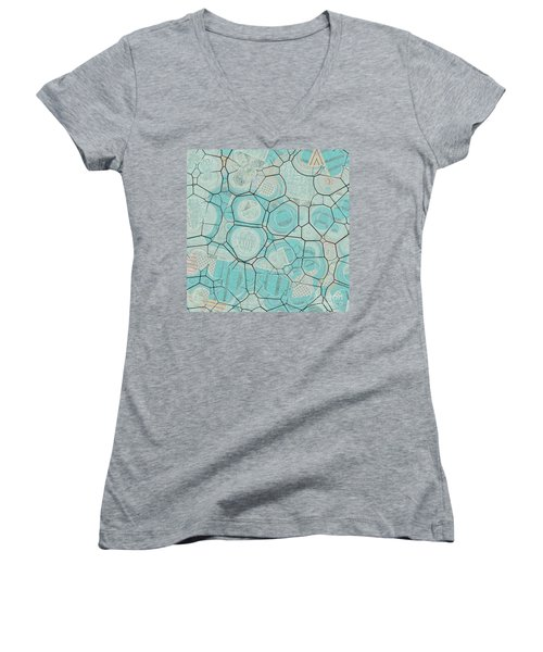 Women's V-Neck T-Shirt (Junior Cut) featuring the digital art Cellules - 04c1 by Variance Collections