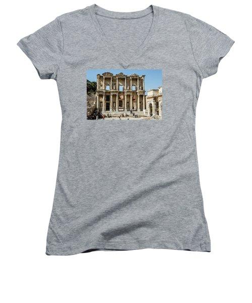 Celsus Library Women's V-Neck T-Shirt (Junior Cut) by Kathy McClure