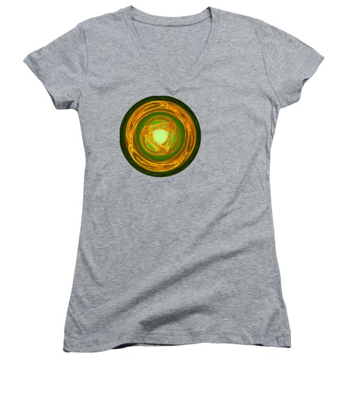 Women's V-Neck T-Shirt (Junior Cut) featuring the digital art Celtic Abstract On Green by Jane McIlroy