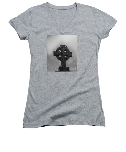 Celtic Cross #2 - Scotland Women's V-Neck T-Shirt (Junior Cut) by Amy Fearn