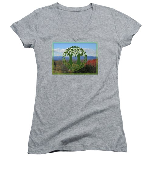 Celtic Wedding Tree In Green Women's V-Neck T-Shirt