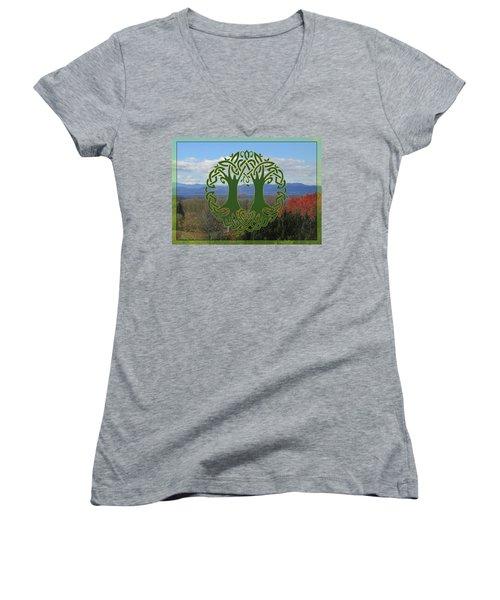 Celtic Wedding Tree In Green Women's V-Neck T-Shirt
