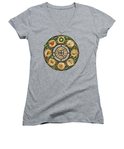 Celtic Wheel Of The Year Women's V-Neck