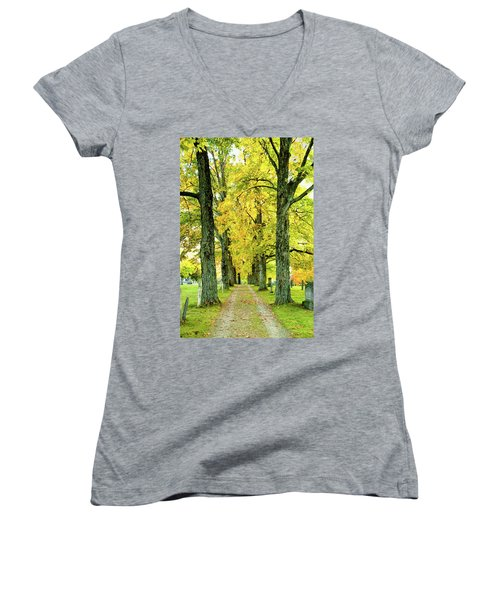 Women's V-Neck T-Shirt (Junior Cut) featuring the photograph Cemetery Lane by Greg Fortier
