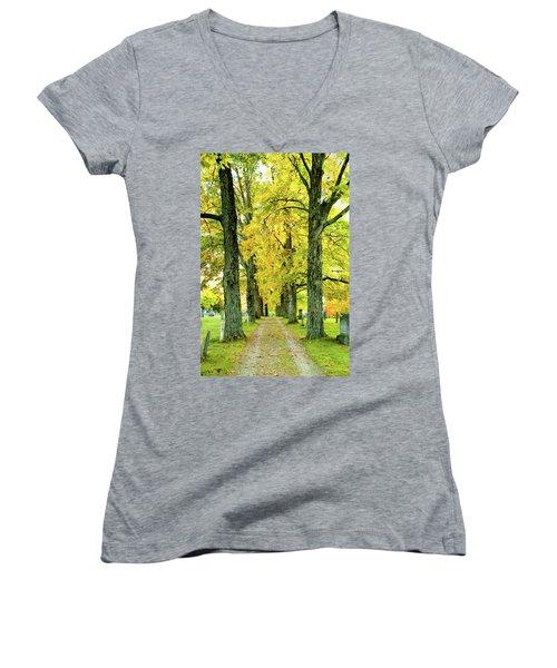 Cemetery Lane Women's V-Neck T-Shirt (Junior Cut) by Greg Fortier