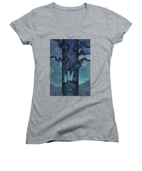 Women's V-Neck T-Shirt (Junior Cut) featuring the painting Cenotaph by Andrew Batcheller